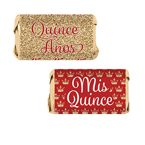 Quinceanera Party Mini Candy Bar Wrapper Stickers, 54 Count (Red and Gold)]()