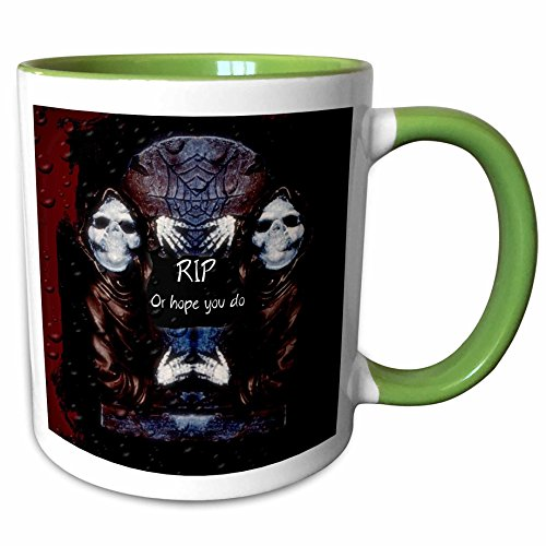 (3dRose ET Photography - Halloween Designs - Grim reaper with tombstone and Halloween saying - 15oz Two-Tone Green Mug)
