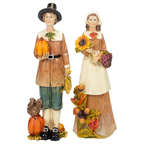 Delton Pilgram Couple with Plentiful Harvest and Squirrel 10 x 4 Inch Resin Stone Tabletop Figurines; Set of 2