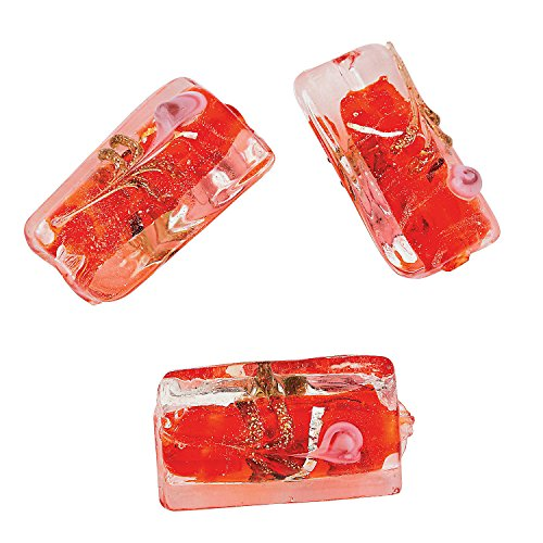 Red Foil Rectangle Lampwork Beads - 24mm
