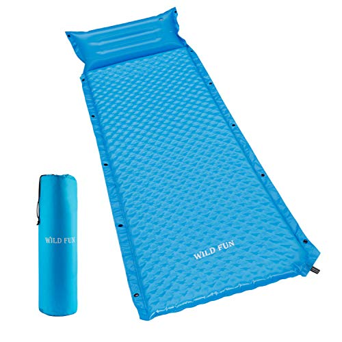 WILD FUN Camping Sleeping Pad with Attached Pillow, 1.5″ Self-Inflating Sleeping Pad for Hiking Backpacking, Lightweight Connectable Foam Sleeping Mat
