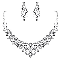 Women's Crystal Floral Vine Necklace Earrings Set