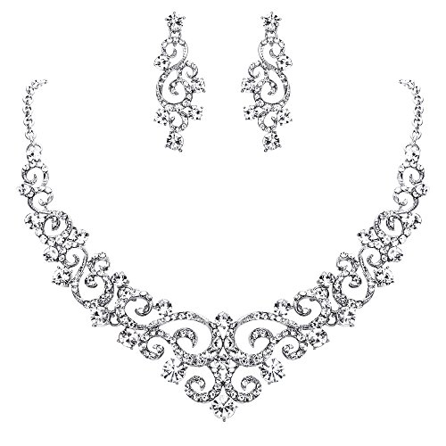 (EVER FAITH Women's Crystal Gorgeous Floral Vine Bridal Necklace Earrings Set Clear Silver-Tone)
