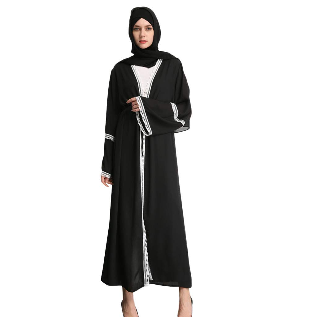 Muslim Dresses Women Summer Black Lace Stitching Embroidery Cardigan Robes Long Casual Loose Kaftan Party Dress