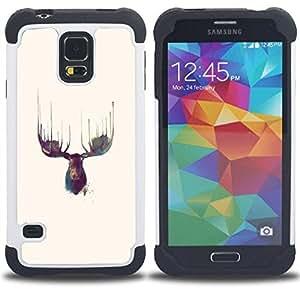 """Pulsar ( Alces Antlers Acuarelas Amarillo"""" ) SAMSUNG Galaxy S5 V / i9600 / SM-G900 V SM-G900 híbrida Heavy Duty Impact pesado deber de protección a los choques caso Carcasa de parachoques"""