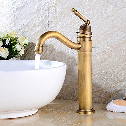NewBorn Faucet Küche oder Badezimmer Waschbecken Mischbatterie zu Drehen, um Den vollen Kupfer antiken Tisch Becken Basinwith Höhe Wasser antiken Niedrig, mit 80 cm Wassereinlassleitung Tippen