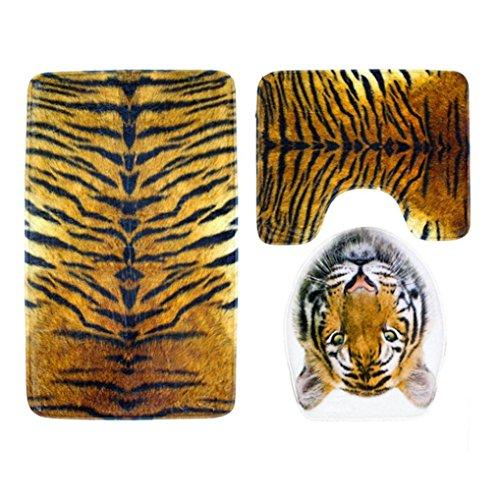 WARMSHOP 3Pcs A Set Bathroom Toilet Rug Animal Tiger Leopard - Print Toilet Mat Set Soft Flannel Rug+Lid Toilet Cover+Bath Mat (Camouflage-C)