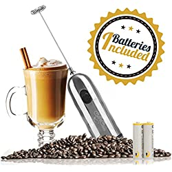 Handheld Milk Frother and Drink Mixer: 2-Speed, Battery Operated Electric Stainless Steel Foam Blender Accessories - Hand Held Foamer Whisk Wand for Making Coffee, Matcha, Latte, Cappuccino and More