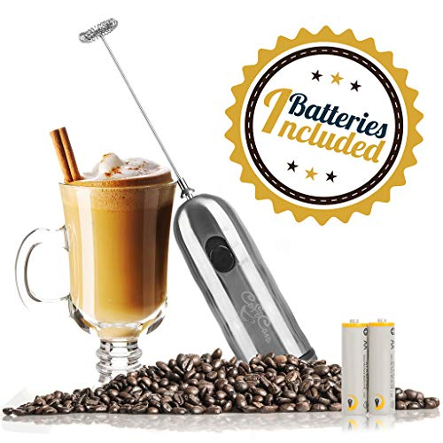 Handheld Milk Frother and Drink Mixer: 2-Speed, Battery Operated Electric Stainless Steel Foam Blender Accessories - Hand Held Foamer Whisk Wand for Making Coffee, Matcha, Latte, Cappuccino and More by Cafe Casa