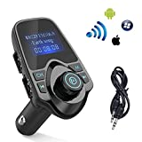 FM Transmitter,Bluetooth Wireless Radio Adapter Audio Receiver Stereo Music Tuner Modulator Car Kit with USB Charger, Hands Free Calling