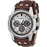Fossil Men's Coachman Quartz Stainless Steel and Leather Chronograph Watch, Color: Silver, Brown (Model: CH2565)