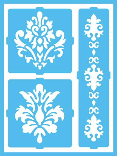 DecoArt Patio Paint Self-Adhesive Stencils, 6 by 8-Inch, Elegant Damask
