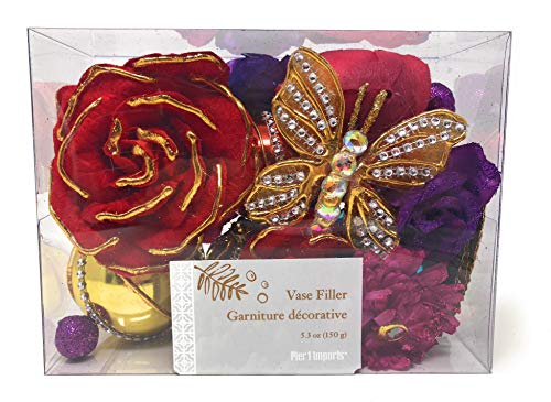 Pier 1 Decorative Flower Butterfly Gilded with Crystals Vase Filler ()