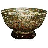 ChinaFurnitureOnline Chinese Porcelain Bowl, Canton Rose Courtly Scene Motif