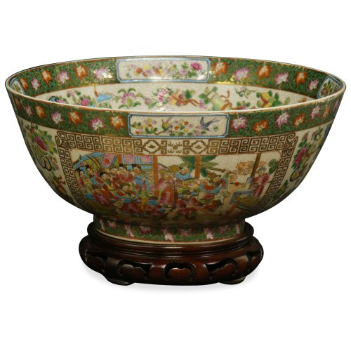 (ChinaFurnitureOnline Chinese Porcelain Bowl, Canton Rose Courtly Scene Motif )
