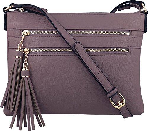 B BRENTANO Vegan Multi-Zipper Crossbody Handbag Purse with Tassel Accents (Purple(N))