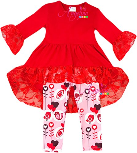 Angeline Boutique Clothing Girls Valentine hearts Hi-Low Lace Red Leggings Set 5T/L