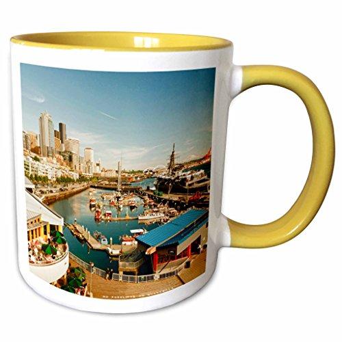 3dRose Danita Delimont - Seattle - USA, Washington, Seattle, Bell Street Pier - US48 RDU0473 - Richard Duval - 11oz Two-Tone Yellow Mug (mug_148496_8)