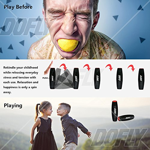 Amazing Desk Toy, DOFLY Spinner Stick Fidget Toy Easy to Flip Roll Made of Beech Desktop Hand Toy Anxiety Release for Office Home Party Class Bar( Black ) Photo #5