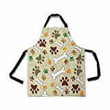 InterestPrint Adjustable Bib Apron for Women Men Girls Chef with Pockets, Dog Paws Bone Pug Print Animal Paws Novelty Kitchen Apron for Cooking Baking Gardening Pet Grooming Cleaning