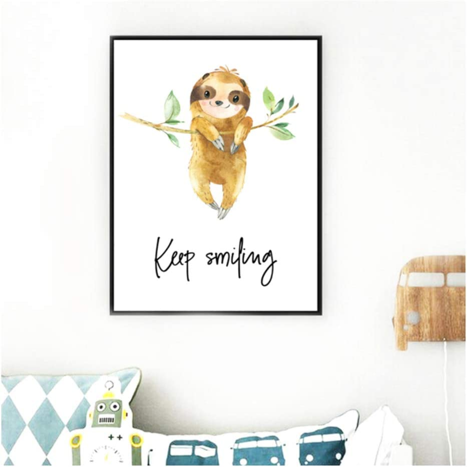 Canvas Painting Nordic Style Print Pictures Wall Art Cute Sloth Tree Cartoon Animal Poster For Children Room Home Frame Decor 30x40cm 11.8x15.7 With Frame