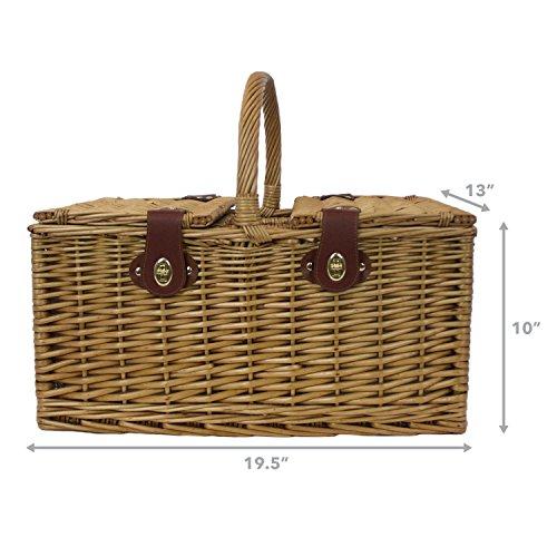 4 Person Insulated Picnic Basket : Zelancio person square picnic basket set with insulated