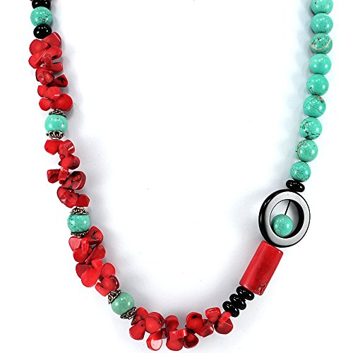 [001 Ny6design Blue Magnesite Turquoise, Red Coral & Black Onyx Beads Long Necklace 30