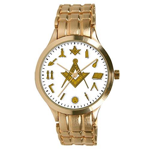 Pedre Men's Round Gold-Tone Bracelet Masonic Square & Compass Watch 0061GSC