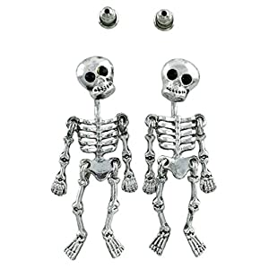 Halloween Skeleton Loose Limbs 3-Piece Earrings Jackets | Party Silver Plated Drop Dangle Studs