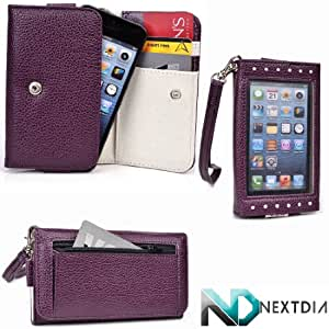 Smartphone Wallet for Blackberry Q5 with Exposed Screen to View Alerts |Puple Plum and Earl Grey + NextDia Velcro Strap