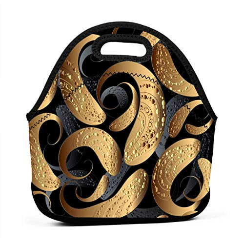 3D Modern Abstract Texture Gold Paisley Flower Dot Circle Ornament Personalized Neoprene Bento Bag Waterproof Insulated Men and Women Working Picnic Trip ()