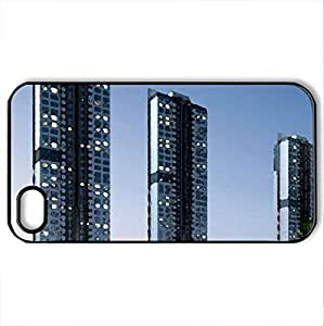 Apartment complex in Japan - Case Cover for iPhone 4 and 4s (Modern Series, Watercolor style, Black)