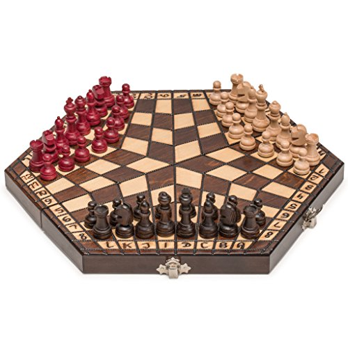 Wooden Three Person Player Chess, 11 Inches