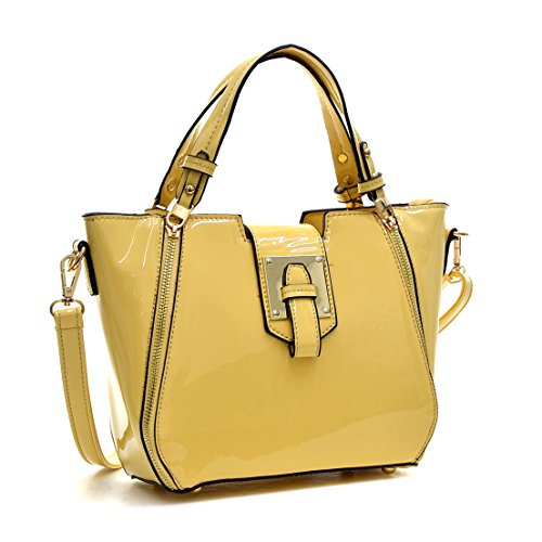 Dasein Fashion Designer Faux Leather Satchel Handbag Tote Shoulder Bag Purse For Women with Strap (Yellow Medium Size 6390)
