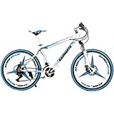 Omeng Mountain Bike Aluminum Frame Bicycle Fork Suspension 3 Spoke Wheels Double Disc Brakes Bicycle Aluminum Racing Bicycle Outdoor Cycling Shimano Dial(26'', 21 Speed)