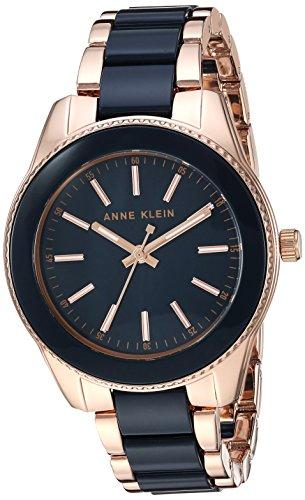 (Anne Klein Women's  Rose Gold-Tone and Navy Blue Resin Bracelet Watch)