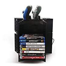 Hulorry Multi-functional Storage Stand Kit for PS4 Game Discs Controllers with Dual Controller Charging Dock