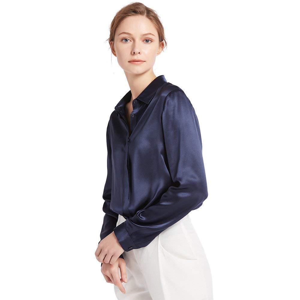 Navy bluee LilySilk Women's Silk Shirt 22 Momme 100% Pure Silk Button Down Tops Long Sleeves