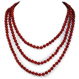 """002 Ny6design Elegant and classy Jewelry Red Coral Hand-Knotted Strand Long Necklace 60"""" N16040505c"""
