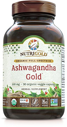 Nutrigold Organic Ashwagandha Gold, 500 mg, 90 Veggie Capsules - Clinically-Proven, Non-GMO, Full-Spectrum Root Standardized Extract Powder Supplement