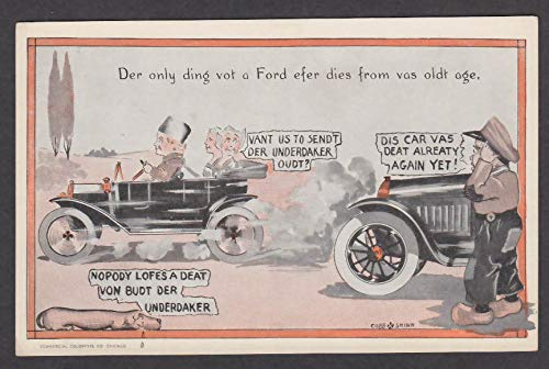 Ford Only Dies from Old Age Dutch cartoon postcard 1910s Cobb X Shinn