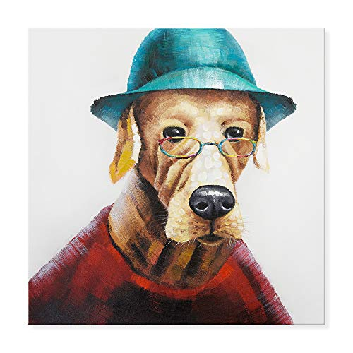 SEVEN WALL ARTS - Funny Dog Painting 100% Hand Painted Modern Cute Dog Wears Colorful Glasses Animal Artworks Stretched and Framed Ready to Hang for Home Decor 32 x 32 Inch ()
