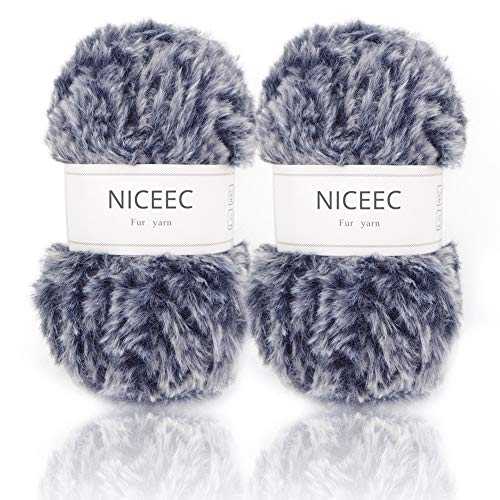 Blue Dyed Knitting Yarn - NICEEC 2 Skeins Super Soft Fur Yarn Chunky Fluffy Faux Fur Yarn Eyelash Yarn for Crochet Knit-Total Length 2×32m(2×35yds,50g×2)-Navy Blue