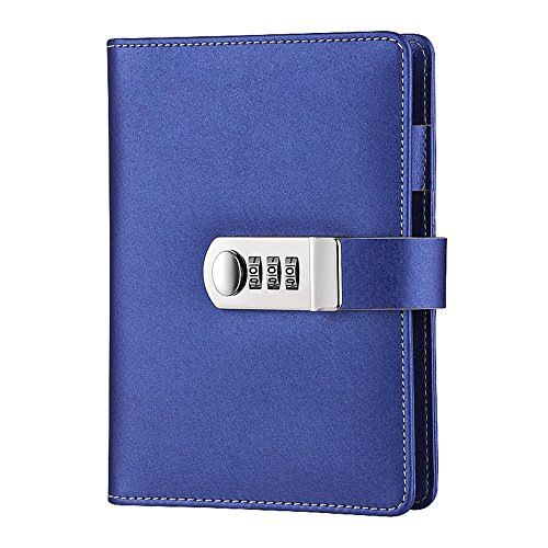 Steno Binder - ToiM Macaroon Color PU Leather A6 Loose-leaf Locking Binder Journal With Combination Lock, Passcode Diary Secret Notebook (Navy Blue)