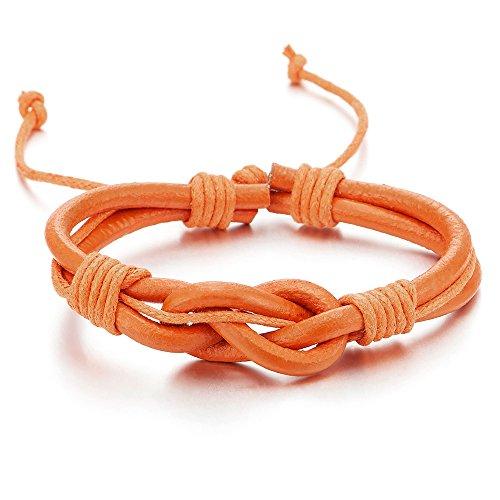 Mens Women Friendship Nautical Knot Orange Genuine Leather Wristband Wrap (Orange Leather Bracelet)