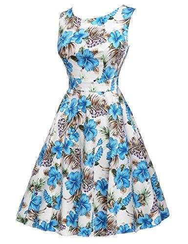 Garden 1950's Floral Vintage Dress Dress Party Cocktail Blue Party Spring White ACEVOG Picnic nIq56I