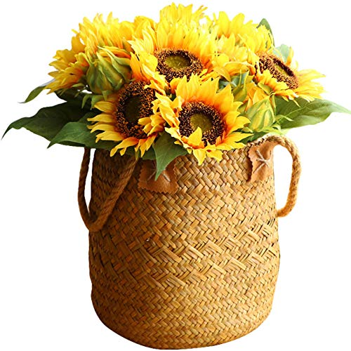 Old Tjikko Artificial 10 Heads Sunflower,Bouquet Floral Garden Artificial Sunflower for Home Decor and Wedding Decorations (No Basket Included) (Yellow Sunflowers)