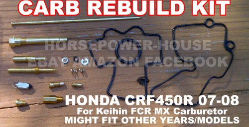 Carb Carburetor Rebuild Kit with O-Ring Gasket Main Pilot Slow Leak Jet Needle Clip Spring and more for Keihin 41mm Flat Side FCR MX Carb fits Honda CRF450R CRF450 2007 2008 and Possibly Other Brands and Models with Similar Carb (Jet Gasket)