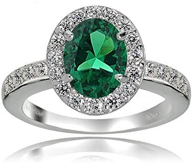 Sterling Silver Created Emerald and White Topaz Oval Halo Ring