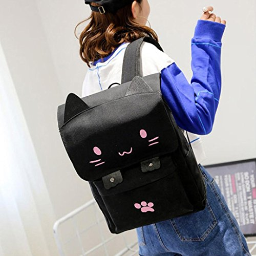 Price comparison product image LtrottedJ Cute Cat Canvas Cartoon Backpacks,  Girls School Bag Casual Printing Rucksack PK (Pink)